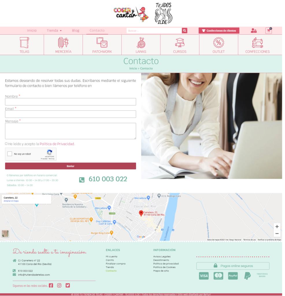 Diseño web tienda online venta de telas